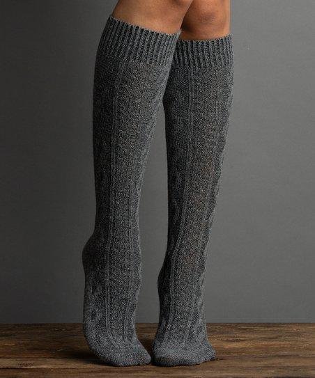 060c08a15 Lemon Legwear Gray Cable-Knit Knee-High Socks - Women | Zulily