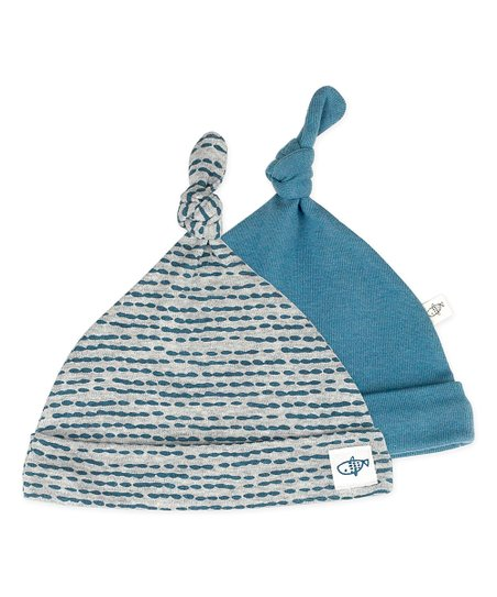 b8561ef439d Mac   Moon Gray   Blue Top-Knot Beanie Set