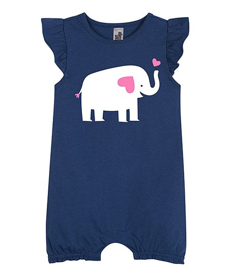403bf2c3256 Instant Message Navy Baby Elephant Angel-Sleeve Romper - Newborn ...