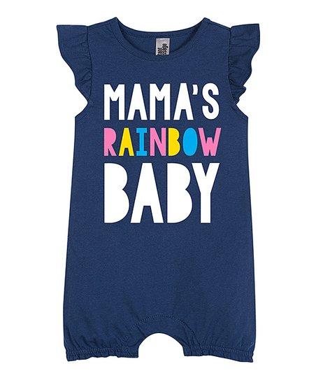 28e9f8568459 love this product Navy  Mama s Rainbow Baby  Angel-Sleeve Romper - Newborn    Infant
