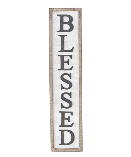 Blessed White Wood Vertical Wall Decor