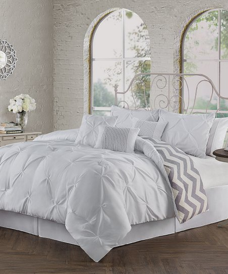 Geneva Home Fashions White Pinch Pleat Ella Seven Piece Comforter