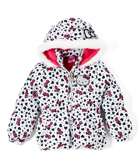 5610f7082 E-play Brands Hello Kitty White Bows Puffer Coat - Girls | Zulily