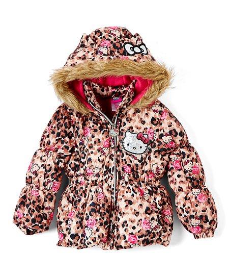 dedc27caa E-play Brands Hello Kitty Pink Leopard Puffer Coat - Girls | Zulily