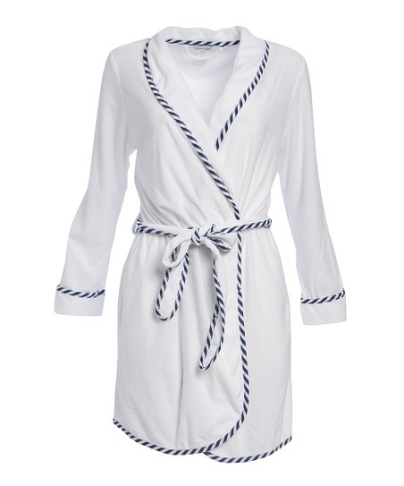 love this product White Stripe-Trim Terry Robe - Women f4d53664d
