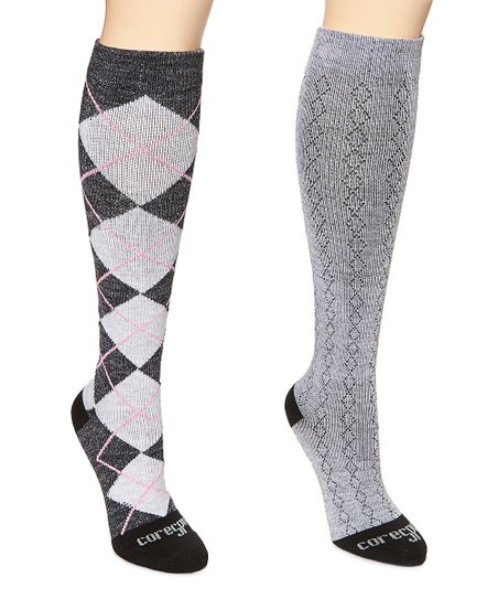 fbccafc8ca love this product Pink Argyle & Classic Diamond Core-Spun Mild-Support 15-20  mmHg Compression Knee-High Socks - Women