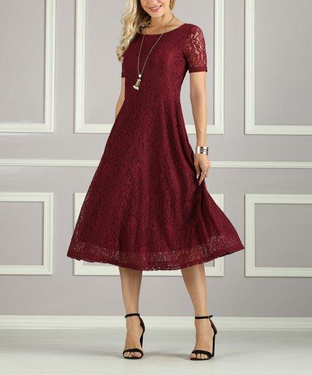 suzanne betro dresses burgundy lace a line dress women zulily