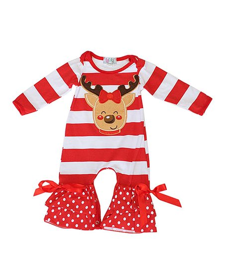 e54444e13 ilyLily Red   White Stripe Reindeer Bow-Accent Romper - Infant