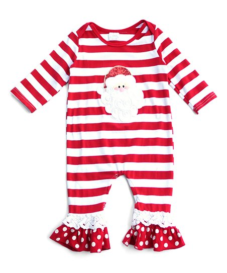 dd836af73 Honeydew Red   White Stripe Santa Romper - Infant