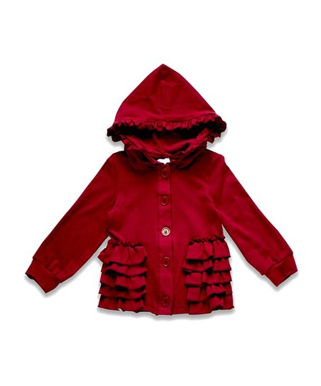 9638c22f1b8e Honeydew Red Ruffle-Accent Hooded Jacket - Infant