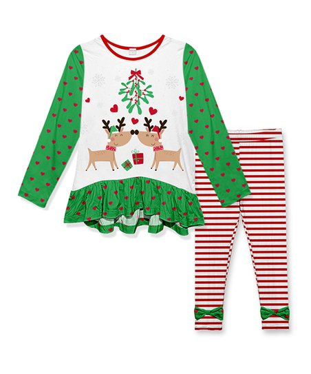 f7817f827e4bc love this product White Green & White Hart Reindeer Mistletoe Ruffle Tunic  & Red Stripe Pants - Toddler & Girls