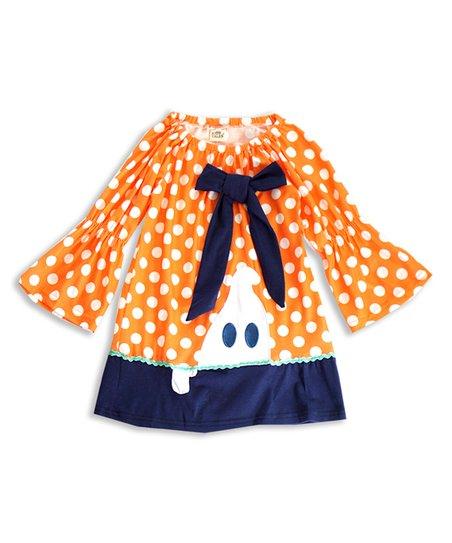 c8d80350c Honeydew Orange   Black Polka Dot Bow Bell-Sleeve Dress - Infant ...
