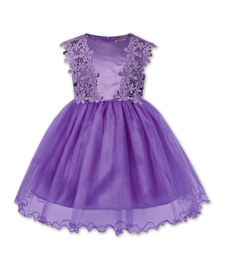 7b32a8172 love this product Purple Floral Lace-Trim Sleeveless A-Line Dress - Girls