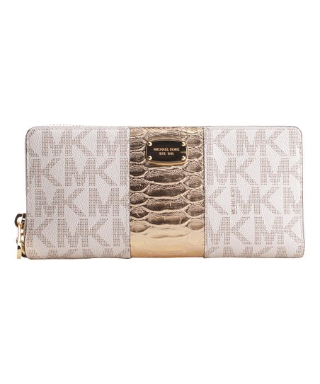 49bb41c96c57 Michael Kors Vanilla & Pale Goldtone Leather Wallet | Zulily
