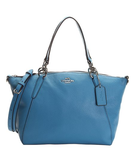 Bright Blue Leather Zip Tote