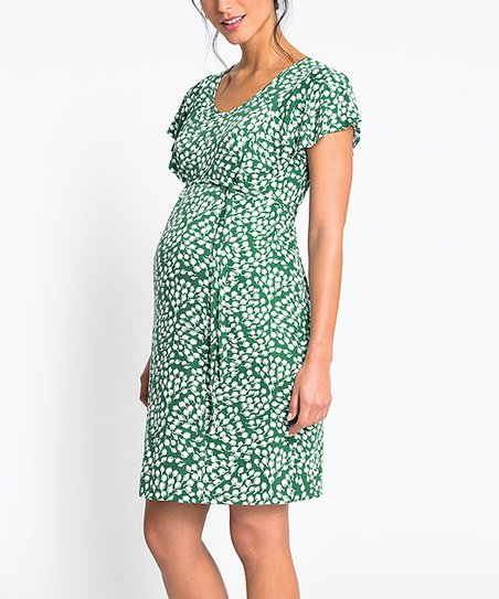 4da60901cce81 JoJo Maman Bébé Green & White Leaf Maternity Dress | Zulily