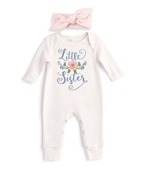 657f6632f7df love this product Ivory   Blush Floral  Little Sister  Romper   Headband  Set - Newborn   Infant