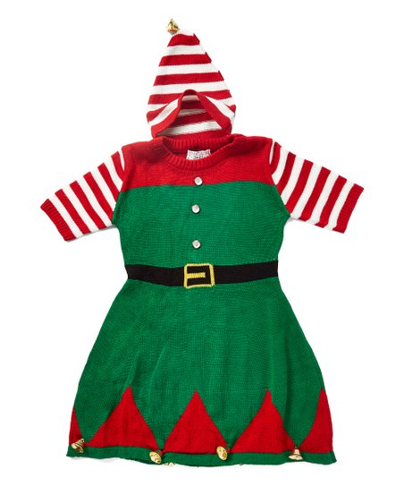 9c4aaac9f7f love this product Red   Green Elf Sweater Dress - Girls