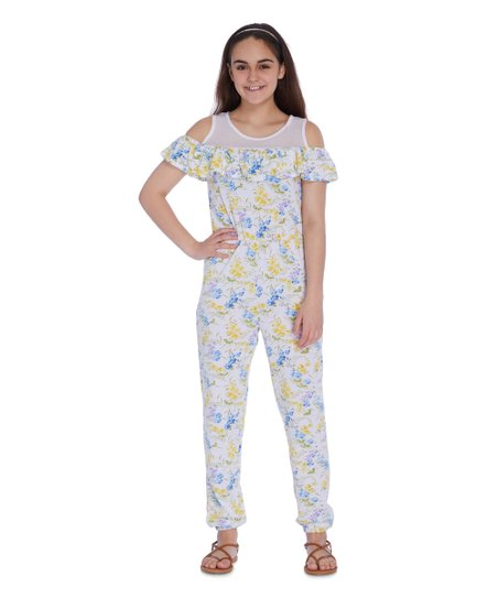 7528b83da0a8 love this product Blue & Yellow Floral Mesh-Yoke Off-Shoulder Ruffle  Jumpsuit - Girls