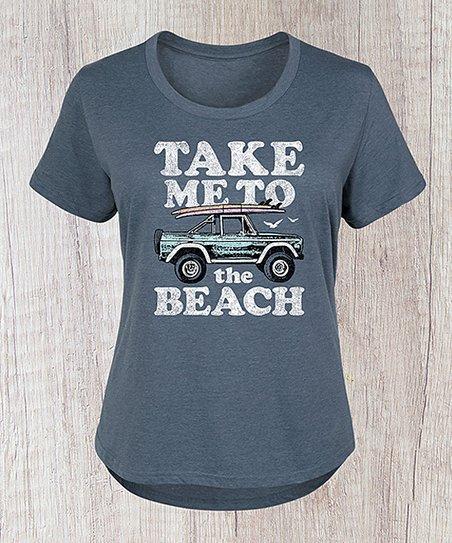 abd06c4e LC trendz Plus Heather Blue Take Me To The Beach Jeep Scoop Neck Tee ...