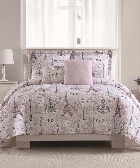 b953d447 Blush & Gray Paris Springtime Five-Piece Reversible Comforter Set