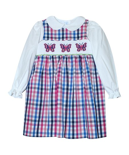b214bb0d91 love this product Pink   Blue Plaid Butterflies Jumper   White Long-Sleeve  Top - Infant