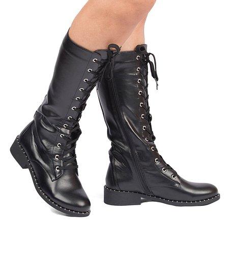 Qupid Black Plateau Combat Boot - Women  b4caa7102