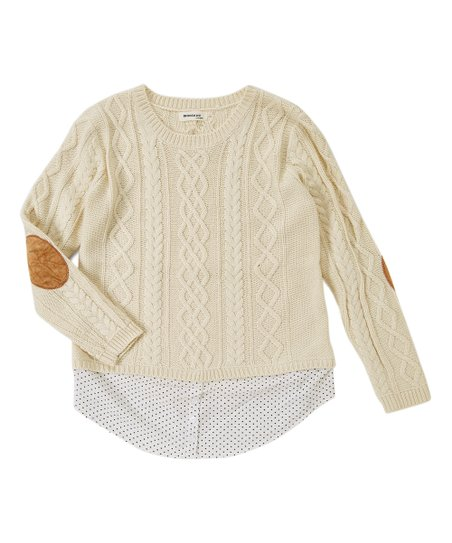 Monteau Los Angeles Ivory Cable Knit Sweater Juniors Zulily