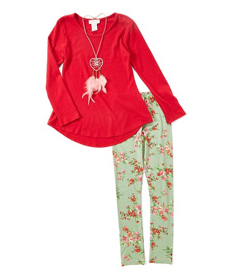 7948b1b7386d4 love this product Red Necklace-Accent Tunic & Green Floral Leggings - Girls