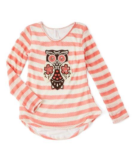 6ba36c41a6d Maya Fashion Coral Stripe Sequin Owl Long-Sleeve Tunic - Girls | Zulily