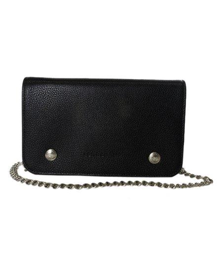a57c2c0783d6 Longchamp Black Leather Le Foulonne Chain Wallet