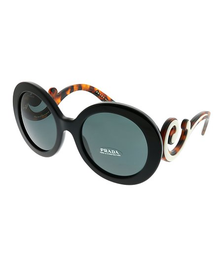 f8c9e98322a13 Prada Black   Brown Tortise Swirl-Arm Round Sunglasses