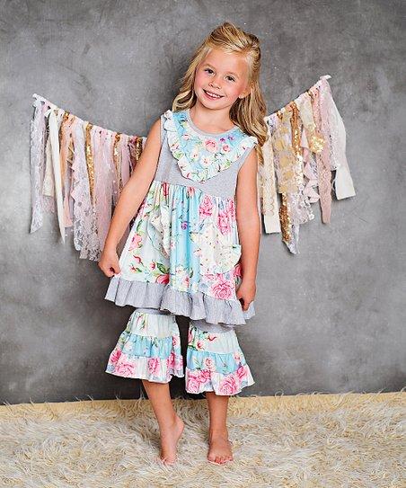 a740b223357e9 Adorable Sweetness Gray Floral Yoke Dress & Ruffle Pants - Girls