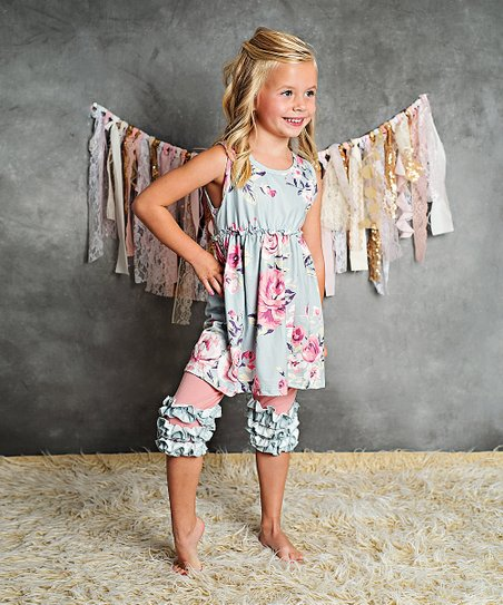 afafb9f6c0251 Adorable Sweetness Gray & Light Blue Floral Dress & Ruffle Pants - Girls