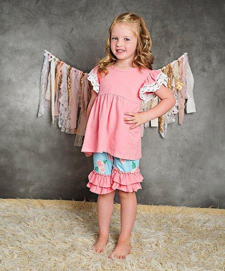 2bd72dda9182a Adorable Sweetness Peach & Teal Angel-Sleeve Tunic & Ruffle Shorts - Girls
