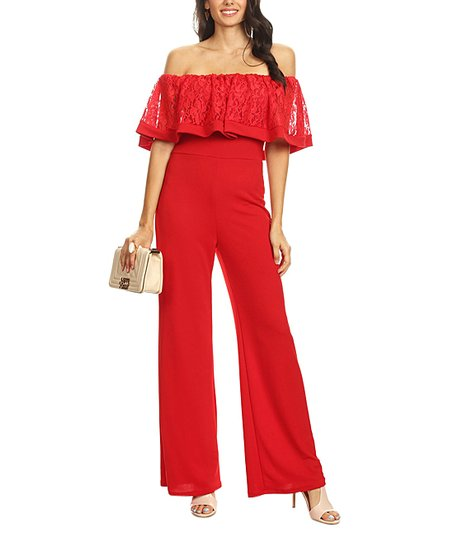 a293e65ba329 love this product Red Lace Off-Shoulder Jumpsuit - Women   Plus