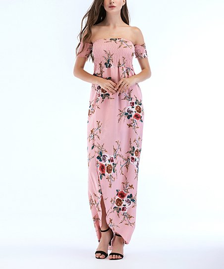 8c5dfe97e9c1 love this product Pink Floral Side-Slit Off-Shoulder Maxi Dress