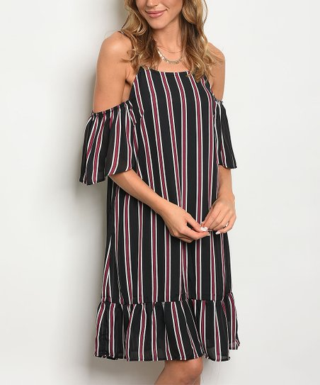 70adea6adef0 love this product Black   Wine Stripe Off-Shoulder Dress - Women