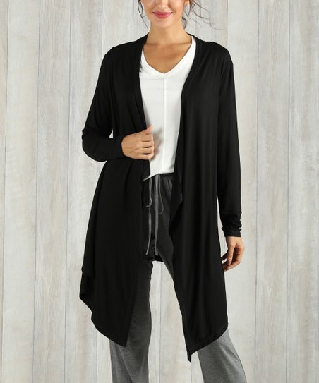 637afe97d09 Simple by Suzanne Betro Black Open Cardigan - Women