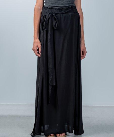 8ebb490460 Forever Lily Black Tie-Waist Double Slit Maxi Skirt - Women | Zulily