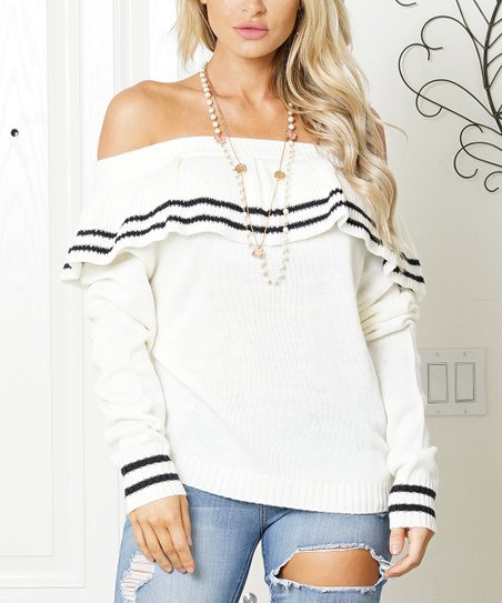 Cream &Amp; Black Off Shoulder Sweater   Women by Soto Lifestyle