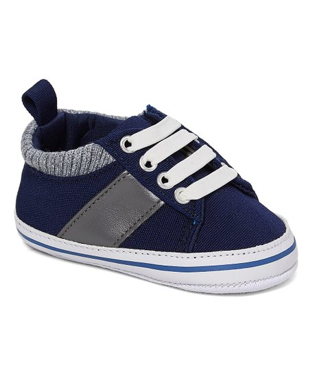 45d5a5c67733d8 love this product Navy   Gray Pop-Stripe Canvas Sneaker - Boys