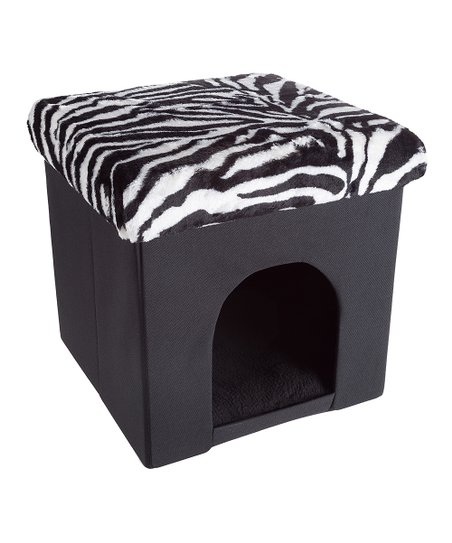 Astonishing Black White Zebra Collapsible Microsuede Pet Bed Ottoman Inzonedesignstudio Interior Chair Design Inzonedesignstudiocom
