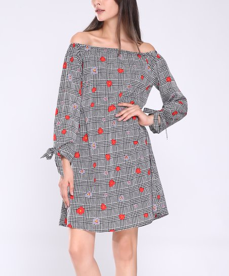 9517f3c39d5 Highness NYC Black   Red Floral Tie-Sleeve Shift Dress