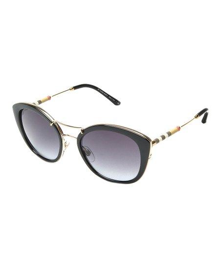 b1c258ffacd4 Burberry Black   Gold Stripe Gradient Cat-Eye Sunglasses
