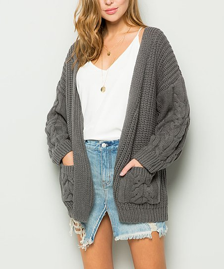 dbcebb73261f Cherry On Boutique Charcoal Chunky Open Cardigan - Women