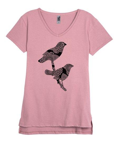 664f6d38e Instant Message Womens Mauve Bird V-Neck Tee | Zulily
