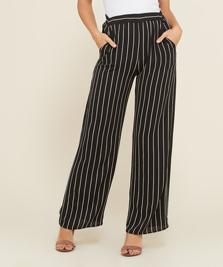 d7a170fda7766b love this product Black Stripe High-Waist Wide-Leg Pants - Women