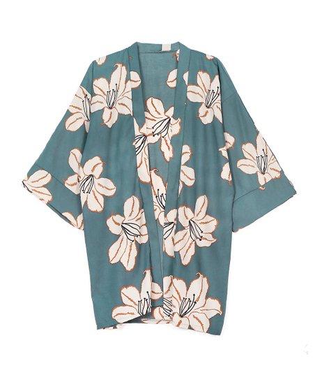 4bb974e5fe Do Everything In Love Green & Off-White Floral Kimono   Zulily