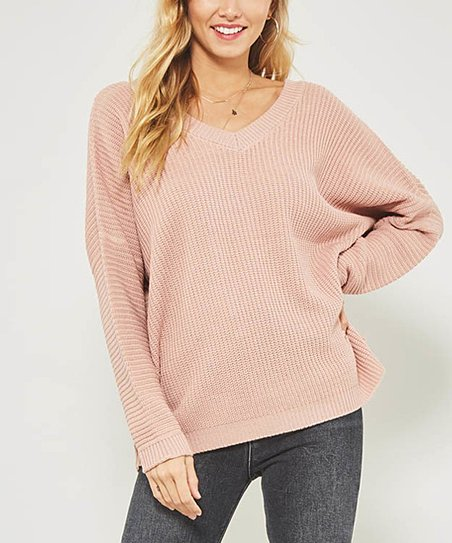 4755d9837 Mauve Ribbed Keyhole-Back Sweater - Women